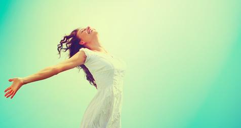 glückliche Frau, gesund, schlank